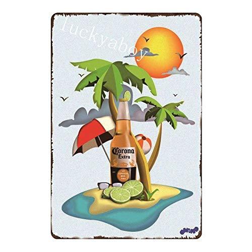 Alanader Corona Extra Bier Poster Metall Blechschilder Retro Wandaufkleber Bar Pub Cafe Vintage Wohnkultur Eisen Gemälde AL003 UV1220 20x30cm