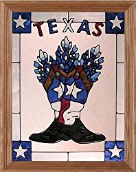 Texas Boots Stars & Bluebonnets Hand Painted Art Glass Panel