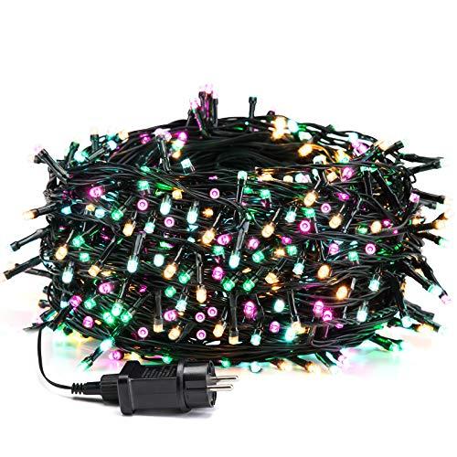 Avoalre 50M 500er bunte Lichterkette Außen, IP44 Wasserdicht Weihnachtsbeleuchtung mit EU Stecker, 8 Modi Party Lichterkette Aussen für Tannenbaum, Hochzeit, Weihnachten,Garten, Ostern