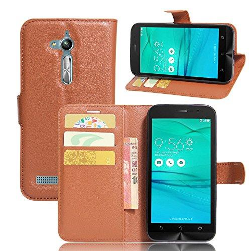 Tasche für Asus ZenFone Go ZB500KL (5.0 zoll) Hülle, Ycloud PU Ledertasche Flip Cover Wallet Hülle Handyhülle mit Stand Function Credit Card Slots Bookstyle Purse Design braun