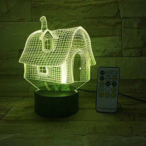 Luz de noche de casa vieja interruptor táctil USB 3D control remoto acrílico 7 colores atmósfera de luz atmósfera regalo para niños transporte de gota de bricolaje