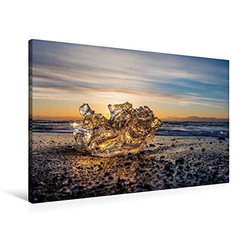 Premium Textil-Leinwand 90 x 60 cm Quer-Format Das Eis Islands | Wandbild, HD-Bild auf Keilrahmen, Fertigbild auf hochwertigem Vlies, Leinwanddruck von Stefan Schröder - ST-Fotografie