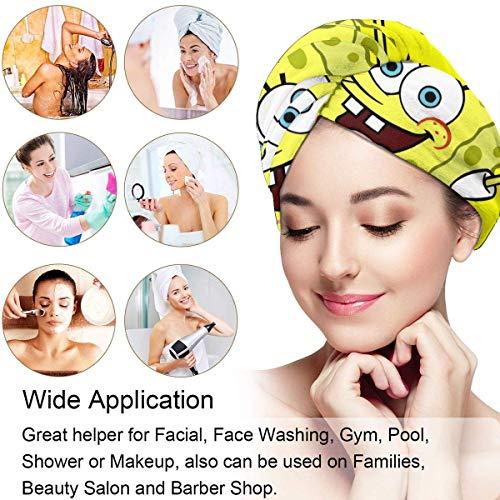 XBFHG Cheveux Serviette Wrap Turban Bob l'éponge Microfibre Séchage Bain Douche Pomme De Douche Serviette avec Bouton, Cheveux Secs Chapeau