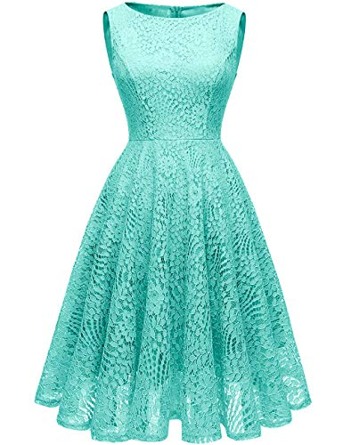 Kingfancy Women Floral Lace Bridesmaid Party Dress Short Cocktail Dress with Boatneck Turquoise L