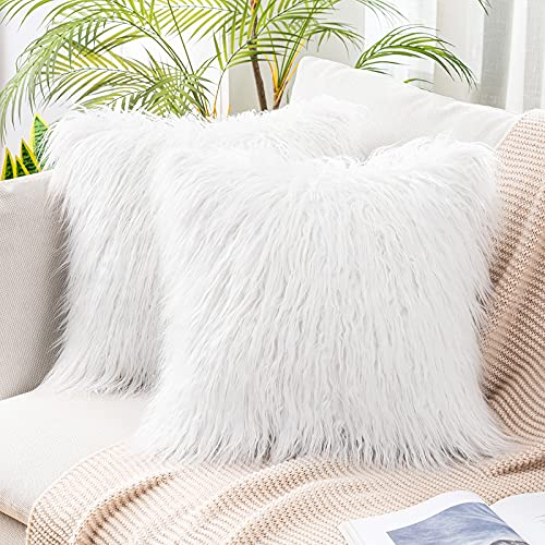 MIULEE Pack of 2 Decorative New Luxury Series Style Faux Fur Throw Pillow Case Cushion Cover for Sofa Bedroom Car Decor 16 x 16 Inch White