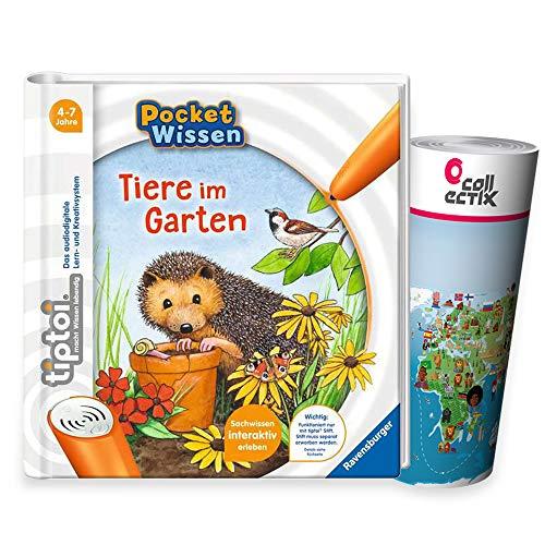 tiptoi Ravensburger Buch 4-7 Jahre   Pocket Wissen - Tiere im Garten + Kinder Weltkarte Ausdruck   Pocketwissen, Tip TOI