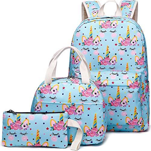 School Backpacks for Teen Girls Lightweight Canvas Backpack Bookbags Set (Y079/Unicorn)