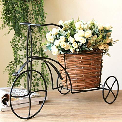 Relaxbx Estantes de Flores de Hierro Nostálgicos para Bicicletas Decoración del jardín del hogar Soporte de Plantas de Hierro con canastas Tejidas Estantes de Flores
