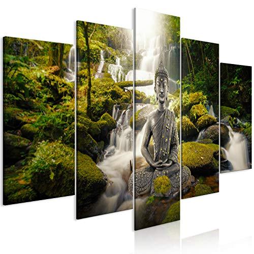 murando Cuadro en Lienzo Buda 200x100 cm Impresión de 5 Piezas Material Tejido no Tejido Impresión Artística Imagen Gráfica Decoracion de Pared - Cascada Zen Feng Shui p-C-0034-b-n