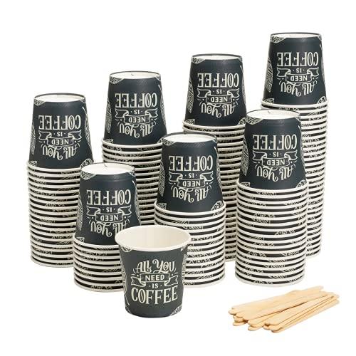 HAPPYFOOD 100 Bicchierini Caffe Carta 110ml / 4oz + 100 Palette Legno imbustate singolarmente - Biodegradabili bastoncini monouso usa e getta bio per caffè espresso (All You Need is Coffee)