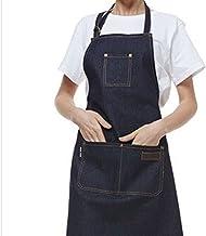 Schorten Canvas Opknoping Nek Schort Unisex Verstelbare Lederen Chef Ober Barber Barista Overalls Thuis Antifouling (Color...