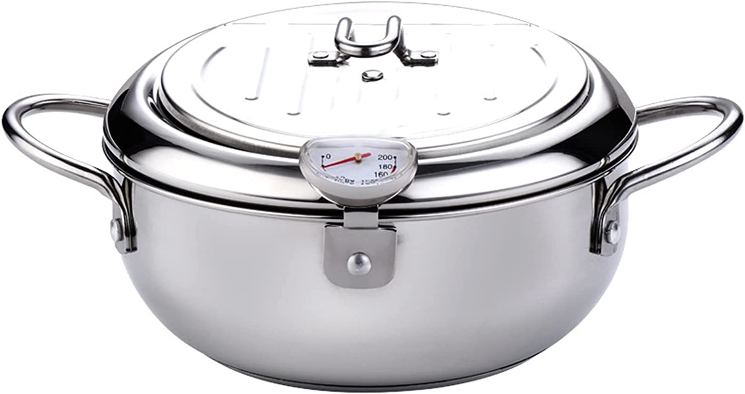 Frying Pot Stainless Steel Deep Free shipping 2021 model on posting reviews Pan with Thermometer Fryer And