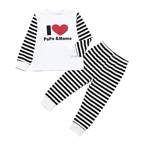 kingko Bébé Filles Garçons Enfants Chandail à Capuchon rayé à Manches Longues + Pantalon Ensemble Coton mélangé bébé vêtements Impression Tops+Pantalon (6-12 Mois, Noir)