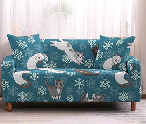 Funda de sofá de 2 Plazas Funda Elástica para Sofá Poliéster Suave Sofá Funda sofá Antideslizante Protector Cubierta de Muebles Elástica Gato Animal Azul Funda de sofá