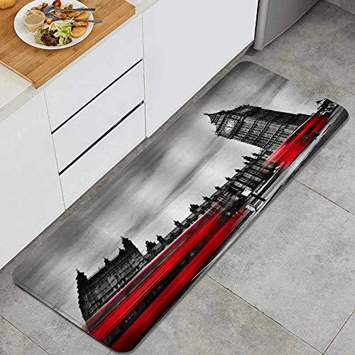 VINISATH Alfombra de Cocina,Autobuses Que Pasan por el Big Ben Inglaterra Paisaje Urbano Londres Punto de Referencia Moderno,tapete Decorativo para Piso de Cocina con Respaldo Antideslizante, 47'x17'