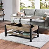 LALUZ Lift Top Coffee Table with Hidden Compartment and Open Storage Shelf, Solid Wood Hydraulic Lifting Table for Living Room, Black