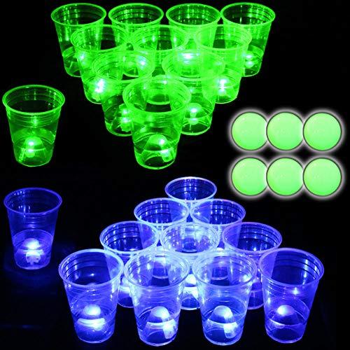 Bier Pong Set, leuchtet im Dunkeln, beleuchtete Bierpong-Becher für drinnen und draußen, Wettbewerbsspaß, 22 leuchtende Becher (11 grün und 11 blau), 6 leuchtende Bälle, wasserdicht, Partyspiel
