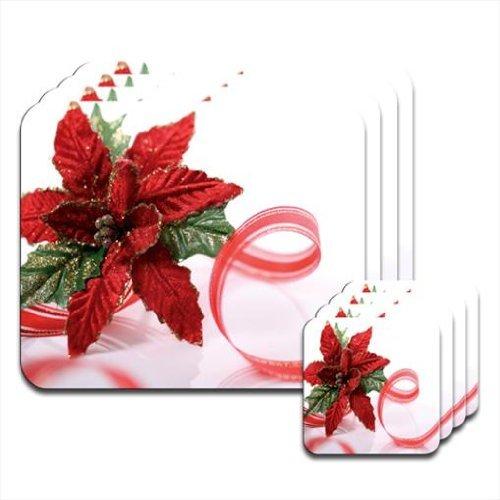 Fancy A Snuggle Rosso & verde glitterato decorazione di Natale con nastro rosso set di 4tovagliette e sottobicchieri