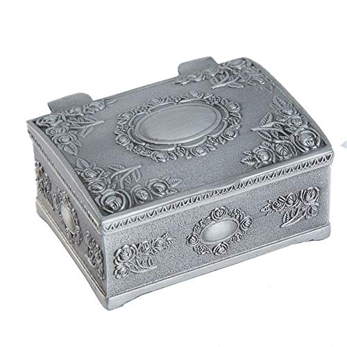 ZHJC Vintage Jewellery Gift Box Vintage Non-solid Wood Korean Princess Jewelry Storage Box Jewelry Ring Earrings Retro Collector (Color : Silver, Size : 6.3x5x3cm)