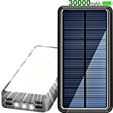 Solar Charger 30000 mAh Solar Power Bank for Cell Phone, Solar Phone Charger with 31 LEDs Lights 4 Dimming Modes and 4 USB Output Ports & 3 Inputs Ports (5V/2.1A)