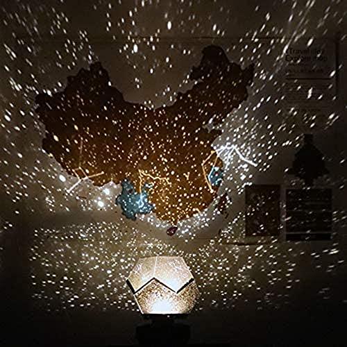 Planetarium 2021 - Lámpara de proyección de cielo estrellado, recargable por USB, romántica, lámpara de noche de estrella, lámpara 3D para dormitorio infantil (blanco, carga de batería)
