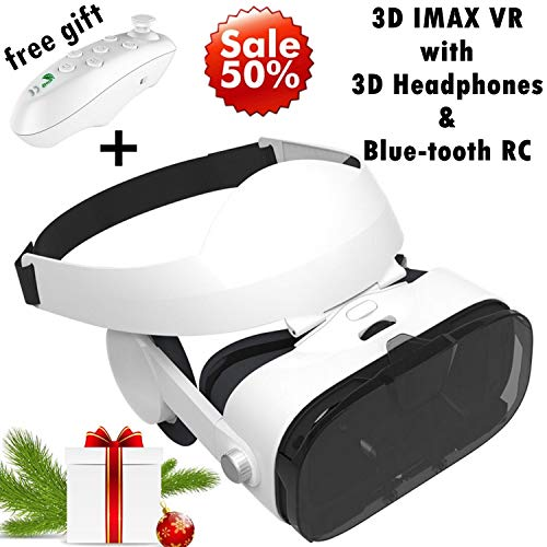3D VR Headset Virtual Reality Goggles w/Over Ears HiFi Headphones for iPhone 11 Pro XS Max XR X 8 7 6S Plus, Samsung Galaxy Note 10 9 8 5 4 3 S10 S9 S8 S7 S6 Edge Plus iOS & Android Cellphone, White