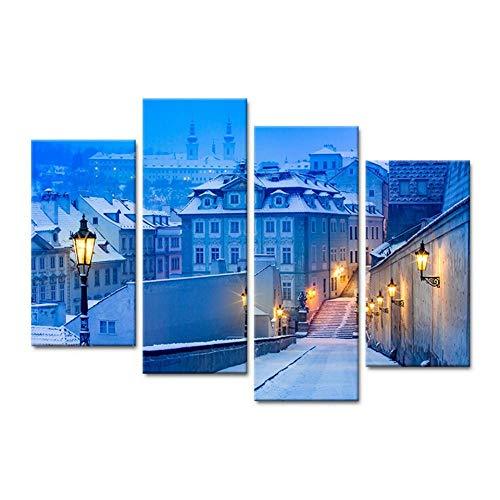 NoBrand muurschildering, bedrukt, kunstfoto, decoratie thuis, 4 panelen, Aube, kleine stad, staande lamp, modern landschap, 40 x 80 x 100 cm, 2 stuks zonder lijst