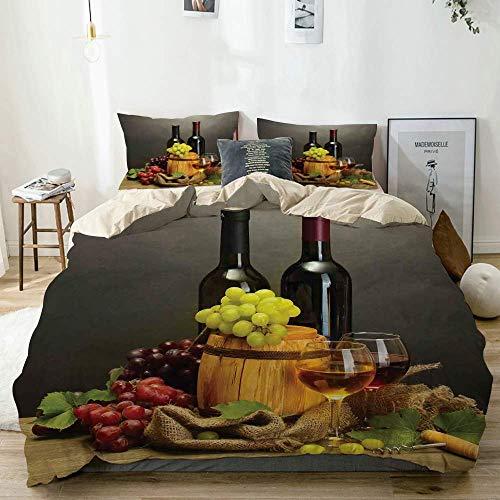 Juego de funda nórdica beige, botellas y copas de vino y uvas maduras sobre mesa de madera Cuadro decorativo, juego de cama decorativo de 3 piezas con 2 fundas de almohada Fácil cuidado Anti-alérgico