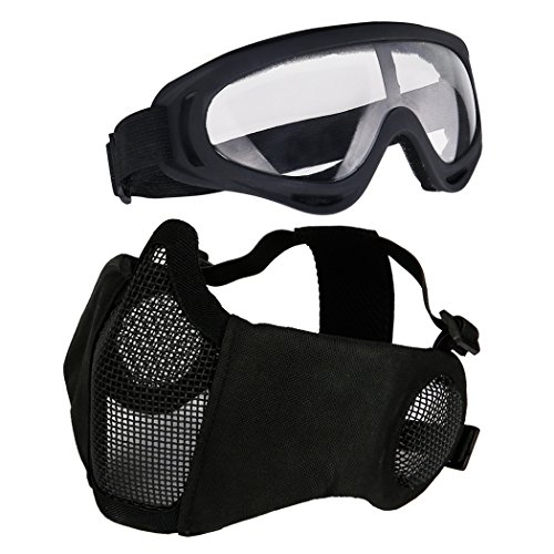 Aoutacc Airsoft Protective Gear Set, Half Face Mesh Masks with Ear Protection and Goggles Set for CS/Hunting/Paintball/Shooting (Black)