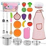Exqline Küchenspielzeug Zubehör für Kinderküche, 24 Stücke Spielküche Zubehör Schneiden Obst Gemüse,Spielküche Kochgeschirr Edelstahl Pfannenset und Kochmütze