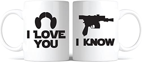 Star Wars Inspired I Love You, I Know Coffee Mug Set of 2 Great Gift for Fans Lovers