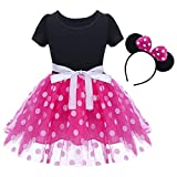 IBTOM CASTLE Baby Girls' Polka Dots Leotard Christmas Birthday Fancy Dance Costume Cosplay Tutu Dress Up with 3D Ears Headband Pink 12-18 Months