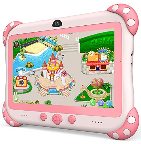 Kids Tablet 7 inch WiFi Kids Tablets 32G Android Tablet for Kids Dual Camera Educational Games Parental Control, Toddler Tablet with Kids Software Pre-Installed Kid-Proof YouTube Netflix (Pink)