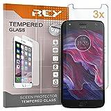 REY Pack 3X Pellicola salvaschermo per Motorola Moto X4, Pellicole salvaschermo Vetro Temperato 9H+, di qualità Premium