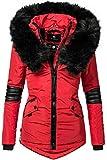 Navahoo Nirvana Veste d'hiver pour Dame avec Une Capuche en Fausse Fourrure Noire Rouge M