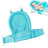 Baby Badewanneneinsatz Sitz, Neugeborene Dusche Mesh für Badewanne Mit vier Sicherheitsstützen, Verstellbar bequeme Badewannen Anti-Rutsch Sitzfläche(Blau)