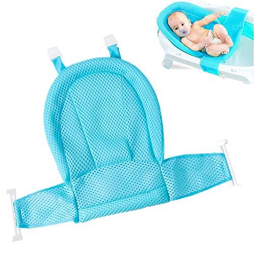 Asiento para bañera para bebés, recién nacidos, malla para bañera, con cuatro apoyos de seguridad, ajustable, cómodo, antideslizante, superficie de asiento (azul)