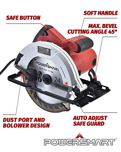 PowerSmart Circular Saw 14Amp 5800RPM Electric Saw with 7-1/4 Inch Blade PS4015