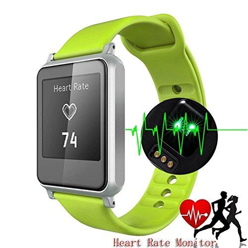 COOSA Aktivitätstracker Smart Watch Armband Bluetooth 4.0 Armband IP55 Wasserdicht Sport Fitness Tracker Gesundheit Herzfrequenzmesser (Grün)