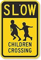 安全標識-遅い-子供たちの交差点。 金属スズサインUV保護および耐候性、通知警告サイン