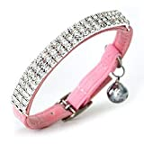 DAIXI Soft Velvet Safe Cat Collar Ajustable Bling Diamante con...