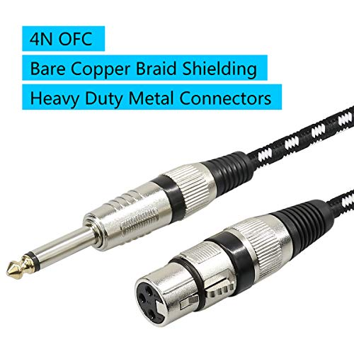 """Microphone Cable XLR Female to 1/4"""" TS Cables,Furui Nylon Braided 6.35mm (1/4 Inch) TS to XLR Cable (XLR Female to TS Male Unbalanced Cable) Gold-Plated Connectors - 10Feet"""