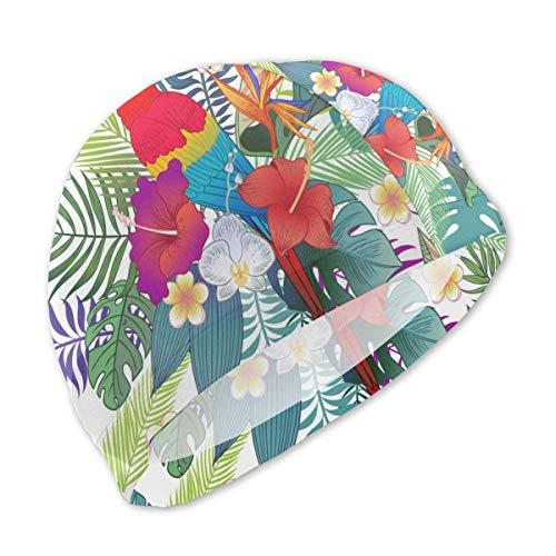 HFHY Beaux perroquets Exotiques tropicaux et Bonnet de Bain Fleurs de Brousse pour Enfants, Bonnet de Bain personnalisé en Polyester