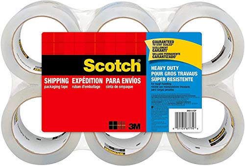 "Scotch Heavy Duty Packaging Tape, 1.88"" x 54.6 yd, Designed for Packing, Shipping and Mailing, 3M Industrial Strength Adhesive, 3"" Core, Clear, 6 Rolls,(2 Pack)"