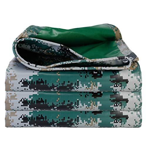 Gjfhome Tarnzeil, waterdicht, omkeerbaar, camouflagepatroon, groen, waterdichte afdekking met UV-bescherming voor camping buitenshuis, camper, vrachtwagen en aanhanger (450g/M2)