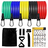 Koviti Resistance Bands Set 12 pcs, Home Gym Equipment Men Women, Outdoor/Home Workout Bands with 5 Resistance Tubes, 2 Handles, 2 Ankle Straps, 1 Door Anchor, 1 Carrying Pouch, Workout Guides