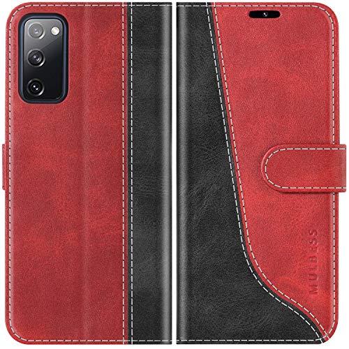 Mulbess Handyhülle für Samsung Galaxy S20 FE Hülle, Samsung S20 FE Hülle Leder, Etui Flip Handytasche Schutzhülle für Samsung Galaxy S20 FE 5G / S20 Lite Hülle, Wine Rot