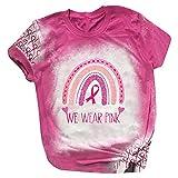 Camiseta de manga corta para mujer, color rosa, cuello redondo, con estampado de letras y colores del arcoíris, Rosa., XXL