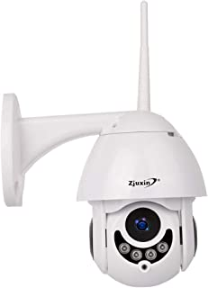 Zjuxin Wireless IP Security Camera, WiFi PTZ Camera Outdoor Pan/Tilt 1080P HD, Wireless Surveillance CCTV Camera, IP66 Waterproof IR Night Vision Two-Way Audio with Pre-Installed 32G Micro SD Card