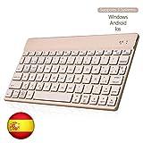 SENGBIRCH Bluetooth Teclado Español, Teclado Inalámbrico Delgado para iOS-Android-Windows Retroiluminada 7 Colores Teclado Compatible con iPad, Tablet PC,Mac (Oro)